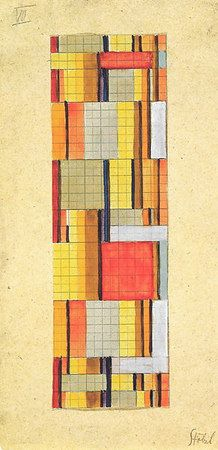 "Gunta Stölzl  > Works > Bauhaus Dessau 1925-1931 > Designs for Wall Hangings __   Design for a double-weave textile  Signed on mount bottom right:  ""Stölzl""  28x14 cm  Bauhaus-Archiv Berlin  KY 209"