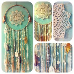 I love this...  use an old doilie from my mom and hang beads, shells, jewelry pieces from the bottom that remind me of happy times or loved ones.  So cool to hang in my new lodge home.