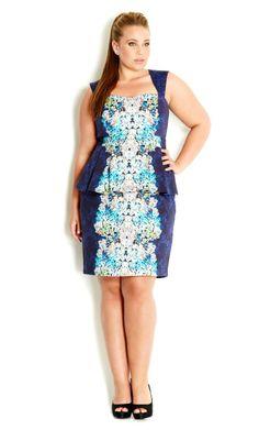 Plus Size Bouquet Blues Dress - City Chic