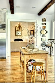 wall decor, wall displays, floor, silver trays, serving trays, kitchen, vintage silver, wood beams, island
