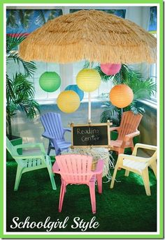 Have a similar beach umbrella and tropical rug...maybe if I have time I can redo my reading center...it's very boring now.