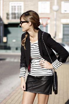 Stripes + leather mini