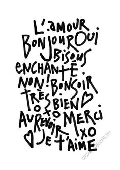 Love French words