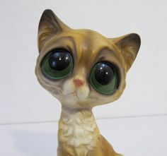 60s 70s Pity Kitty Vintage Cat Figurine Big by KitschyCuteBoutique