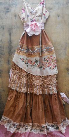 Gypsy maxi dress boho wedding rustic tassels roses beige tea stained   vintage   romantic medium   by vintage opulence on Etsy. $160.00, via Etsy.