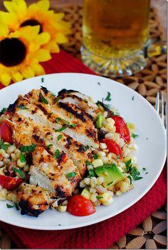 Grilled Chicken with Mom's Barley Corn Salad - Iowa Girl Eats