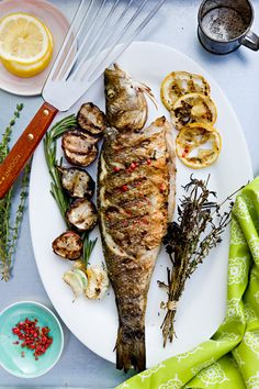 grilled whole fish with lemon and pink peppercorns + santorini summer