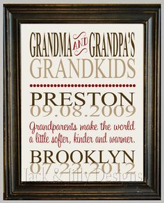 Personalized GRANDPARENT PRINT- the original :) - with Grandchildren's Names and Birthdays - Completely Customizable - Christmas Gift via Etsy