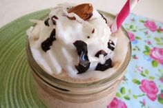 Almond Joy Frappe - A low-calorie sweet frozen coffee drink that tastes like an Almond Joy Candy Bar.  Only 49 calories for over 2 cups!!