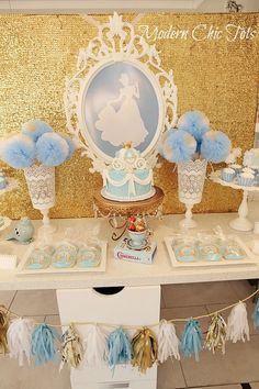 *Cinderella table. Would be cool to do a mirror with a sillouette of each princess for each table