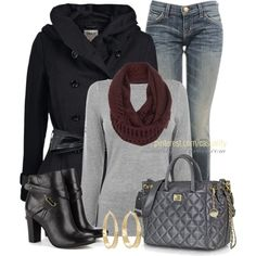 """""""DKNY Bag & Leather Booties"""" by casuality on Polyvore"""