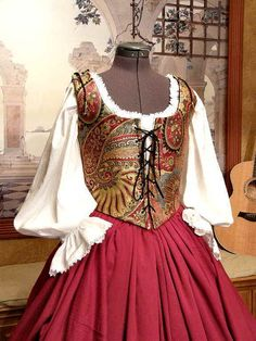 Renaissance Wench or Pirate Bodice and Skirt by fairefinery, $215.00