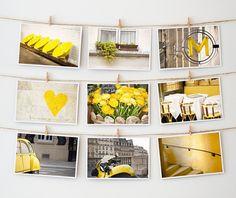 Paris Postcard Set, French Art Postcard, Yellow - 4x6 Art Prints, Paris Photography (Bought) decor, wall art, postcards, paris photography ideas, colors, photo displays, art prints, yellow, pari postcard