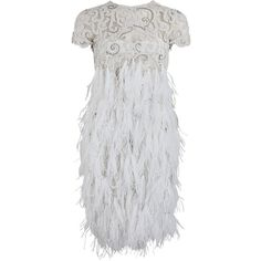 Marchesa Embroidered Tulle Feather Dress ($6,950) ❤ liked on Polyvore