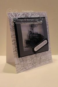 """Beautiful card made using the """"In the Shadow Technique"""" with Stampin Up's Traveler and World Map stamps."""