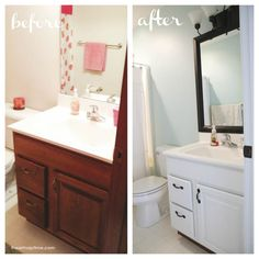 Before and after bathroom! Amazing what a little paint and a framed mirror can do. Via I Heart Naptime