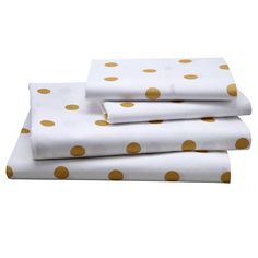 gold polka dot sheet set!!