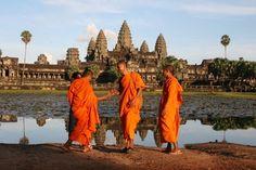 Monks at Angkor Wat - Angkor, Cambodia