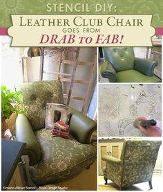 DIY How to Stencil a leather chair with Chalk Paint and Wax - Royal Design Studio Japanese Kimono Flower Stencils found here: http://www.royaldesignstudio.com/products/kimono-allover-stencil