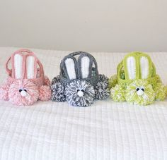 Crochet Easter Baskets. Getting excited for Easter! #crocheteasterbaskets #crochetbunny #crocheteasterbunnybaskets