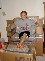 Take some moving boxes and make a couch, then add bubble wrap for comfort!
