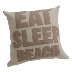 Throw+pillow+with+textured+quote+detail.+  Product:+PillowConstruction+Material:+CottonColor:+Natural
