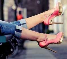 fashion shoes, color combos, girl fashion, heel, woman shoes, pink shoes, girls shoes, walk, gold shoes