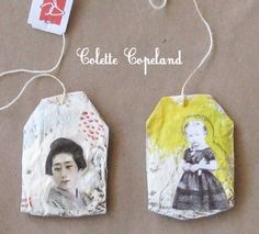 Pair of painted and collaged tea bags (Materials: tea bags, gesso, acrylics, paper, varnish, string) by Colette Copeland