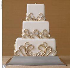 wedding cake squar, swirl, weddings, blue cakes, wedding cakes, gold accent, white cakes, white gold, cake designs