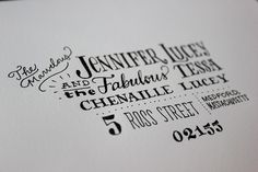 mixed & matched, custom calligraphy and signature style fonts. FUN for special cards as well as professional & personal stationary hand typography design, christmas cards, cards calligraphy fun, hand addressed envelopes, envelope addressing, hand lettered envelopes, address card, address envelop, addressing envelopes
