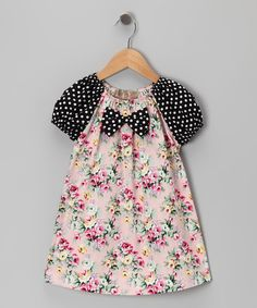 This Pink & Black Polka Dot Floral Bow Tie Dress - Toddler & Girls by Lele Vintage is perfect! #zulilyfinds