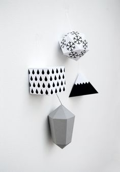 Christmas paper decorations free print-outs and tutorial | Mini-eco