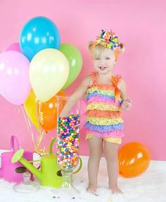 1st birthday photo shoot idea-Colorful Lace Romper by LindaLousThings on Etsy