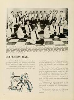 Athena Yearbook, 1959. Jefferson Hall, opened in 1958, was named in honor of Thomas Jefferson, the third President of the United States. :: Ohio University Archives