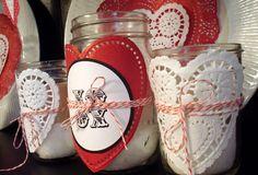 So fun with Mason jars and dollar store doilies! doili, glass, mason jars