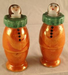 Vintage Noritake Art Deco Harlequin Clown Salt Pepper Shakers Pottery China | eBay