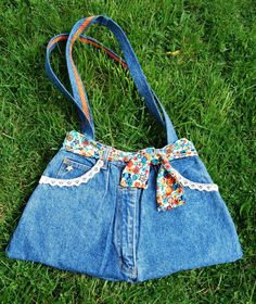 Upcycled denim handbag. I have made several of these and love them.