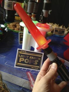 Light Saber Popsicles that glow at Star Wars Party