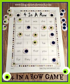 FREE 4-In-A-Row Halloween themed sight word game board!
