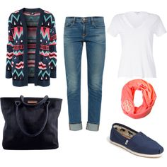 Casual day= tribal print cardigan + skinny jeans + white basic t-shirt and infinity scarf