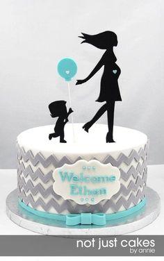 Chevron and Balloon Baby Shower Cake baby shower cakes, balloon babi, boy cakes, fondant cakes, baby cakes, babi shower, cake toppers, chevron cakes, baby showers
