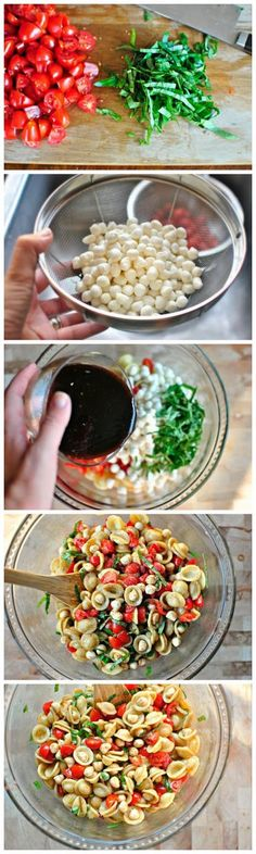 Caprese Pasta Salad:  Ingredients  *2 cups   dried Orecchiette Pasta, cooked as directed on the package  *1 pint Grape   Tomatoes, quartered  *1 container Fresh Mozzarella Pearls {or 1 ball fresh   mozzarella, cubed small}  *1 cup Fresh Basil, sliced into ribbons  *Kosher Salt   and Black Pepper  FOR THE BALSAMIC VINAIGRETTE: * 2 Cloves of Fresh Garlic,   squeezed through a garlic press  *1/3 cup Balsamic Vinegar *3 tablespoons Olive   Oil