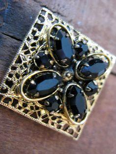 Vintage Goldtone Filigree and Black Rhinestone Brooch by Sfuso, $8.00