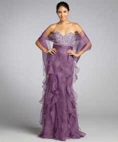 Badgley Mischka Platinum Label : lavender silk organza strapless beaded top ruffle gown with shawl