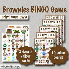 Girl Scouts: BROWNIES BINGO GAME!!!! Print your own!