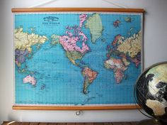 Large Canvas Vintage Style School Map with Wood by GrittyCityGoods, $80.00