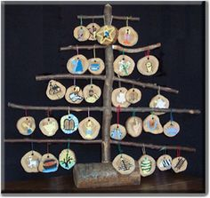 Jesse tree of twigs and branch cuts
