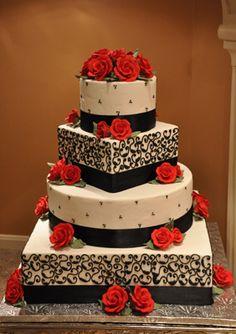 squar cake, wedding cakes, cake designs, flower