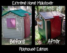 Little Tikes playhouse makeover.  Just a few cans of spray paint.