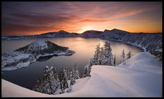 oregon, winter scene, crater lake, sunset, snow, lakes, landscape photography, national parks, place